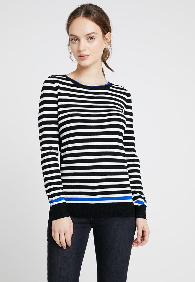 Wallis Petite - FLASH STRIPE CONTRAST - Strickpullover - black/white/blue