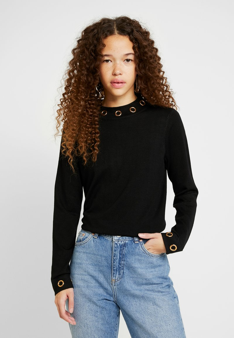 Wallis Petite - EYELET NECK JUMPER - Stickad tröja - black