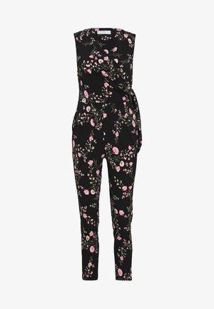 BLOSSOM FLORAL WRAP JUMPSUIT - Tuta jumpsuit - black