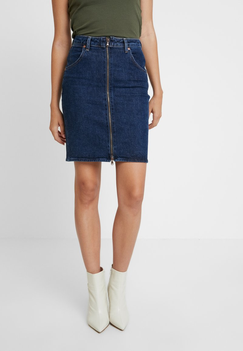 Wrangler - HIGH ZIP SKIRT - Falda de tubo - deep ocean