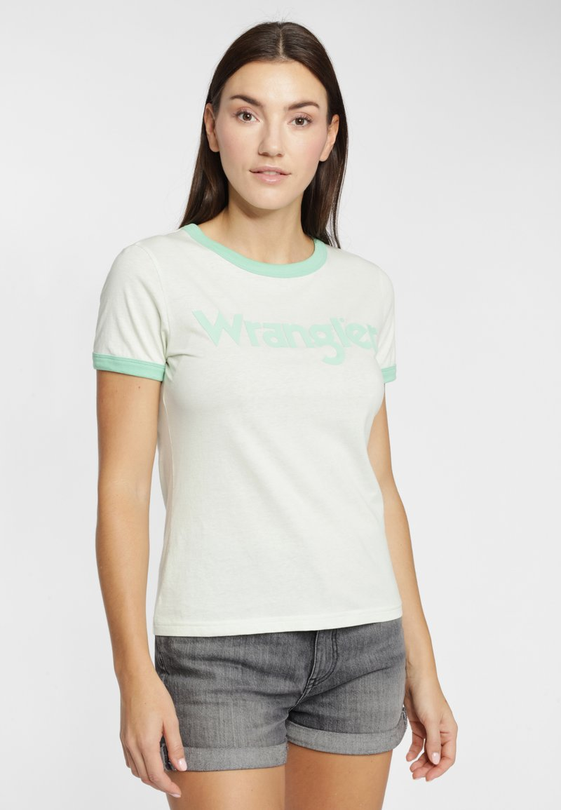 Wrangler - RINGER TEE - T-shirt z nadrukiem - almost aqua