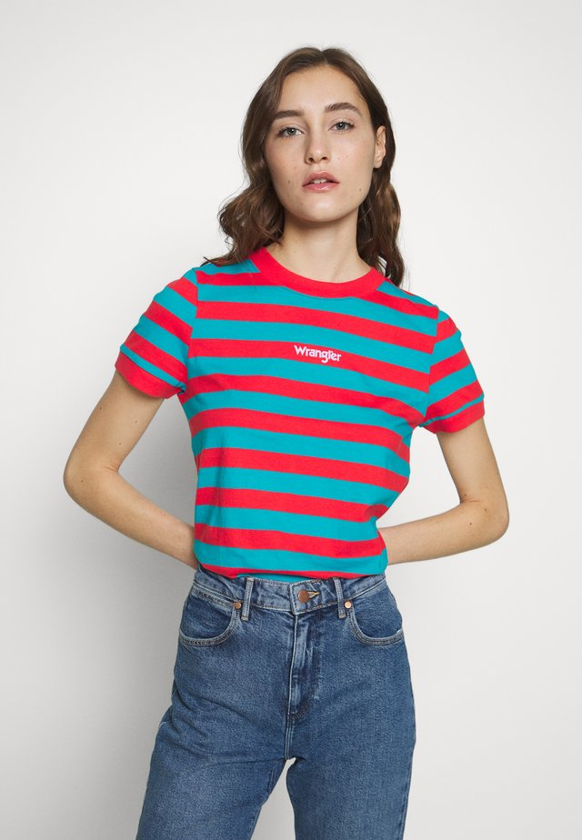 STRIPED HIGH - T-shirt print - bittersweet red