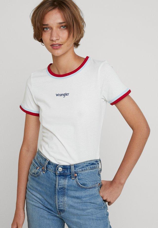 DOUBLE RINGER TEE - T-shirt z nadrukiem - off white