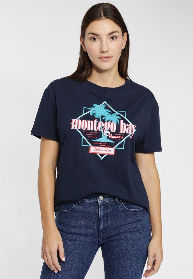 BOYFRIEND - T-shirt z nadrukiem - navy