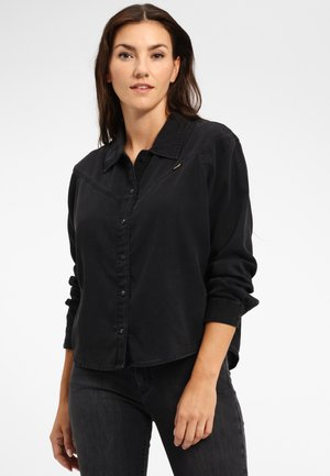 Button-down blouse - black stone