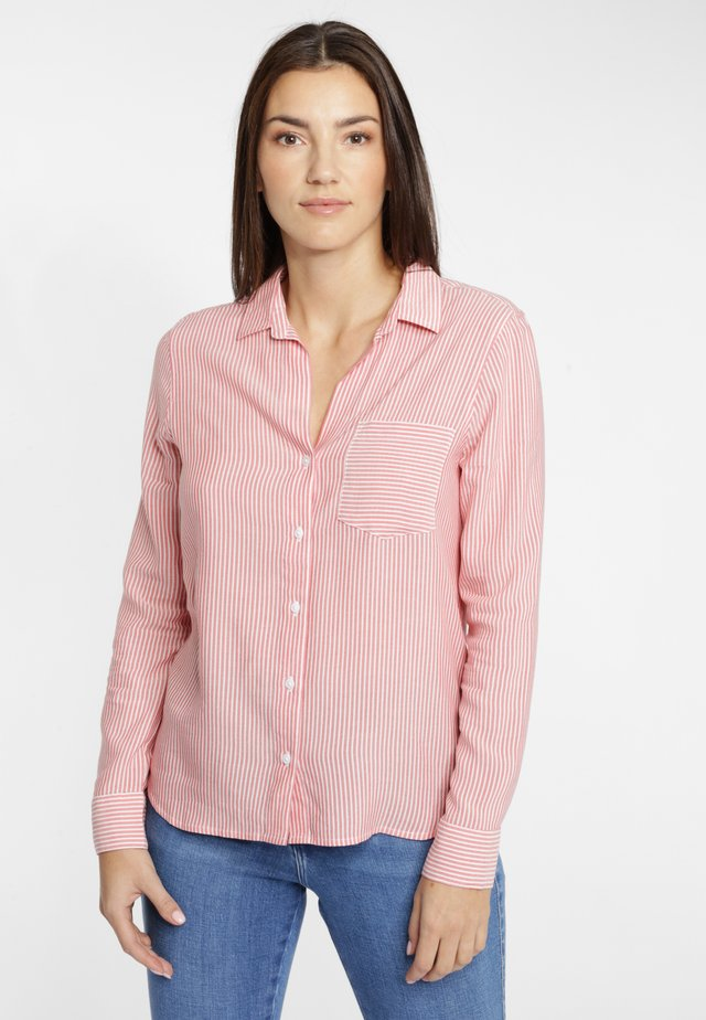 1 PKT STRIPE - Button-down blouse - bittersweet red