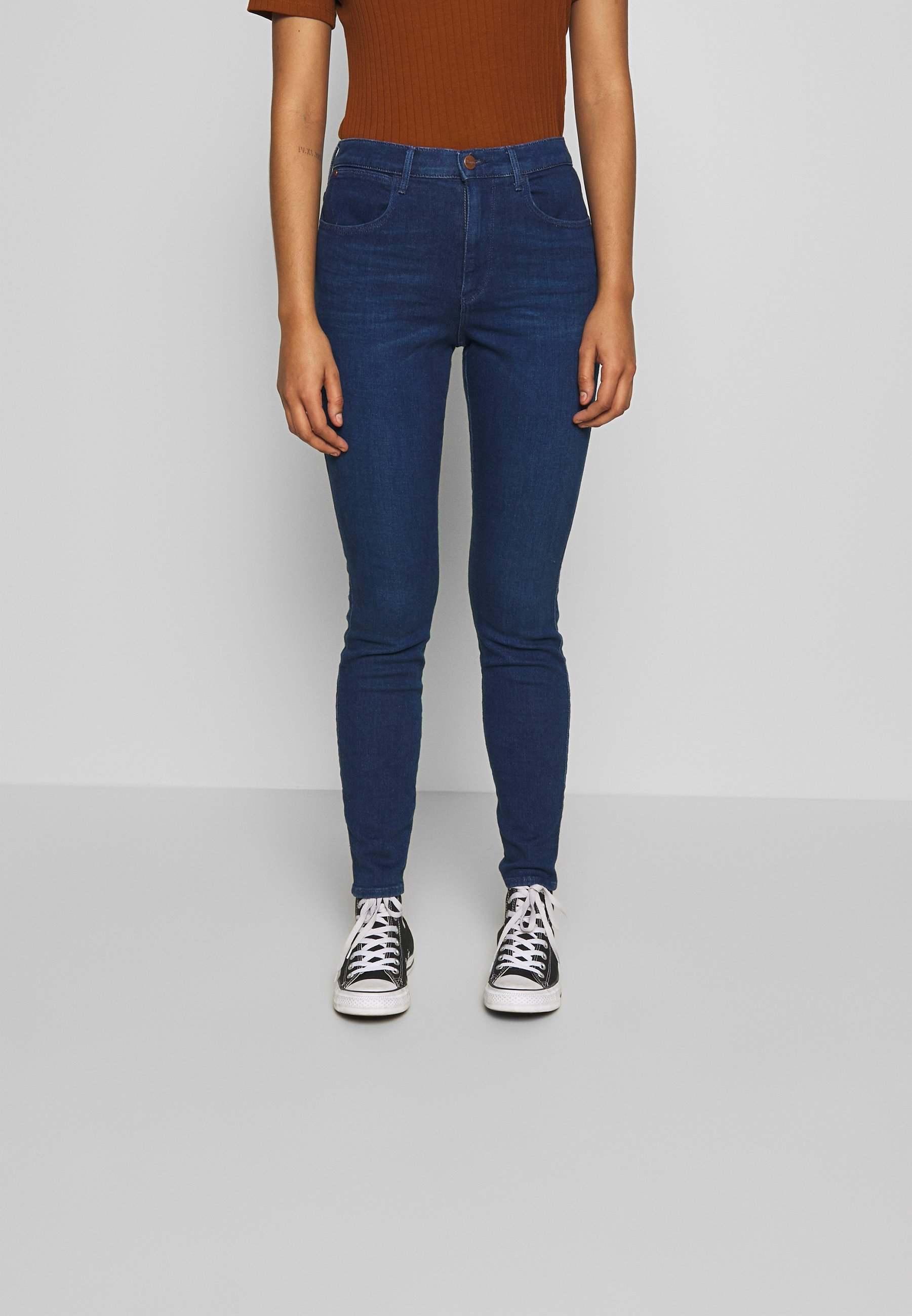 Wrangler High Rise - Jeans Skinny Deep Waters