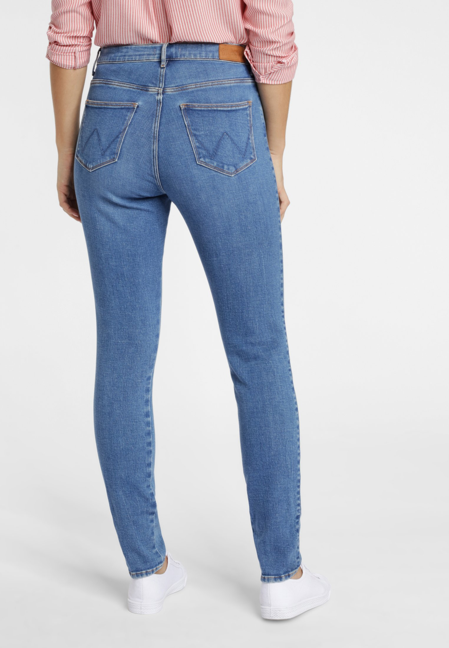 Wrangler HIGH RISE - Jeansy Skinny Fit - pool blue