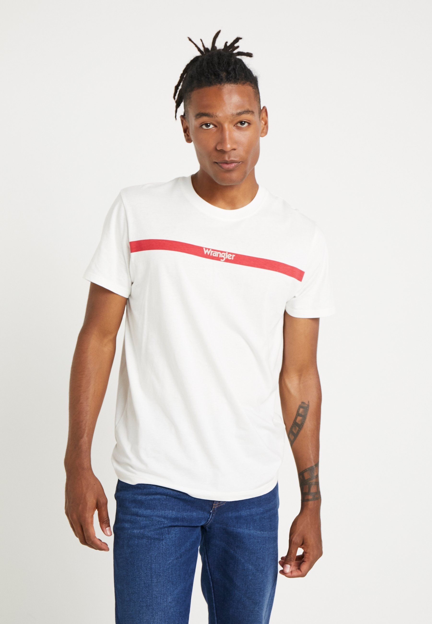 white LOGO TEET Wrangler Shirt print off STRIPE Rj54LA