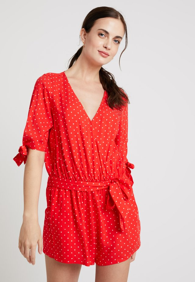 DOTS ROMPER SHORT SLEEVES SHORT DUNGAREE - Strand accessories - scarlet