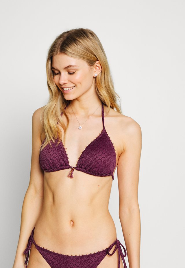 GATHERED REMOVABLE PAD - Bikinitop - aubergine