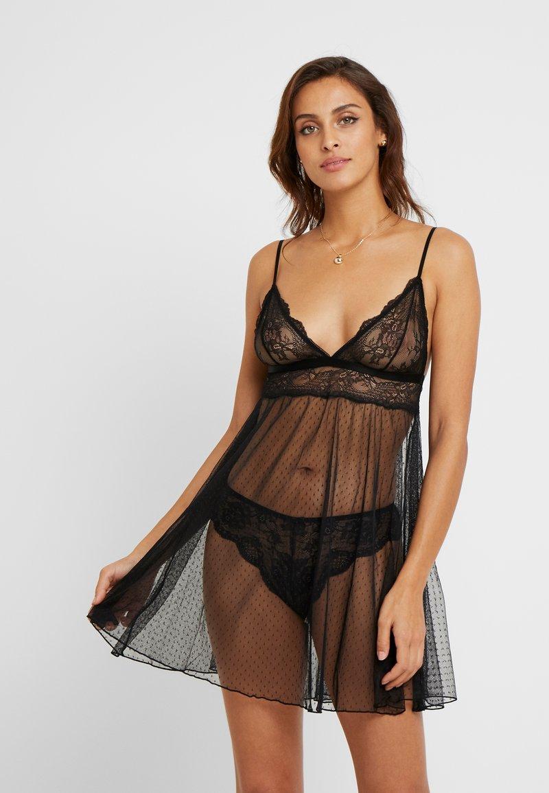 Women Secret - SENSE MAIN SHORT - Noční košile - black