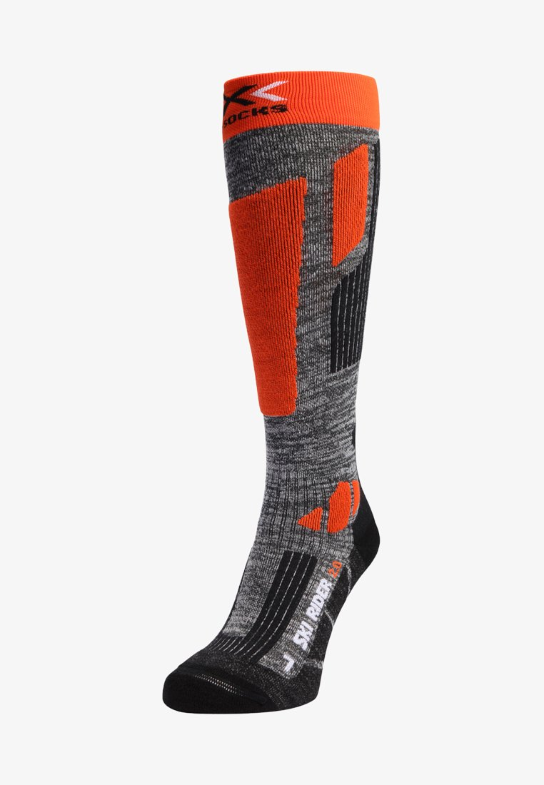 X Socks - SKI RIDER 2.0 - Knee high socks - grey melange/orange
