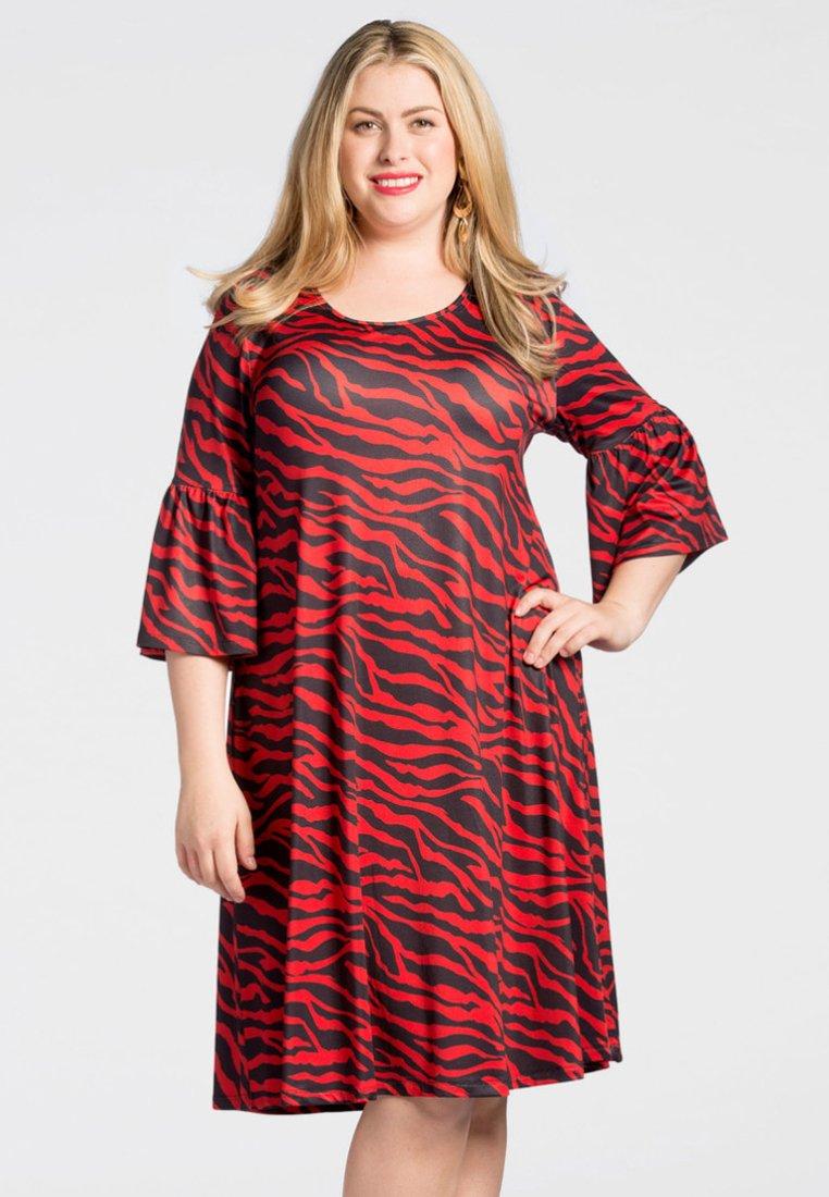 Yoek - Day dress - navy/red