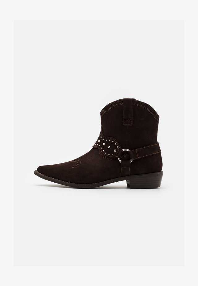 BOOTS - Cowboy/biker ankle boot - brown stone