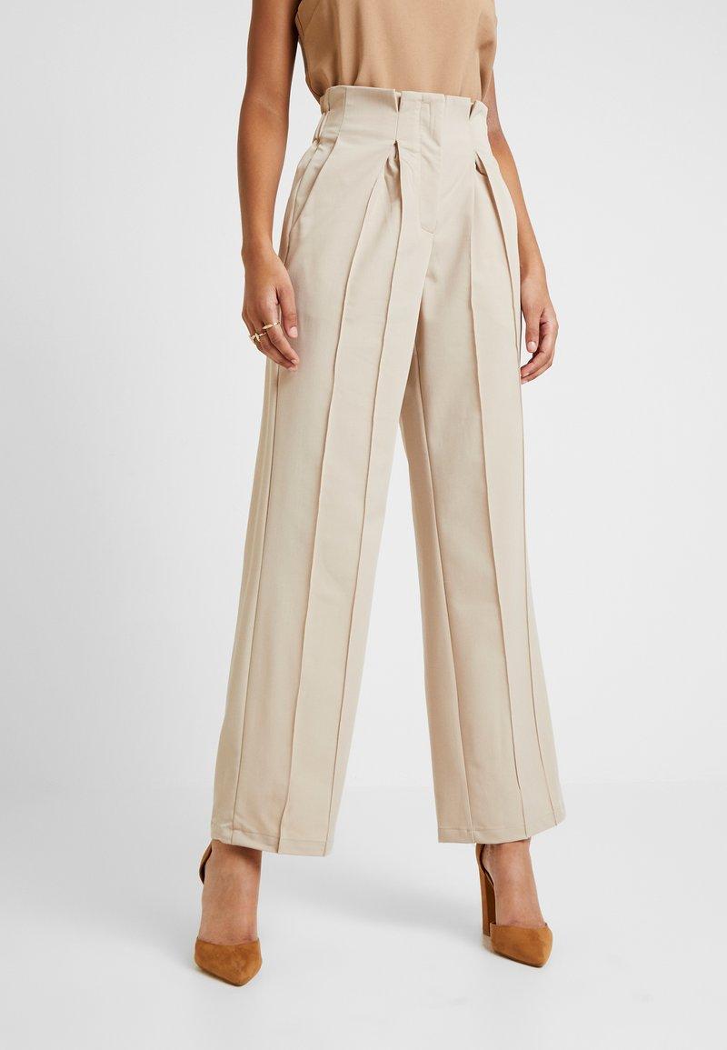 YAS - YASWELLO WIDE PANT VIP - Trousers - oxford tan