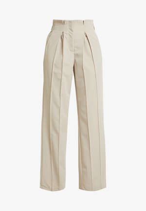 YASWELLO WIDE PANT VIP - Bukse - oxford tan