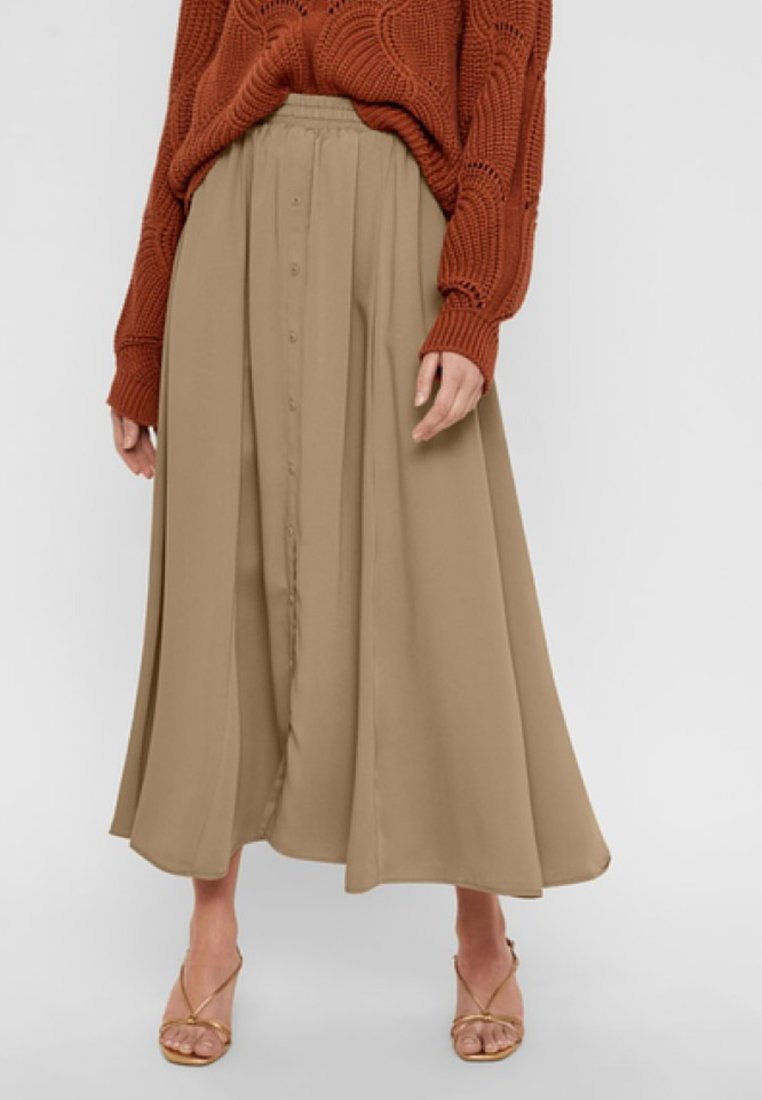 YAS - YASROSEO SKIRT - Długa spódnica - tannin