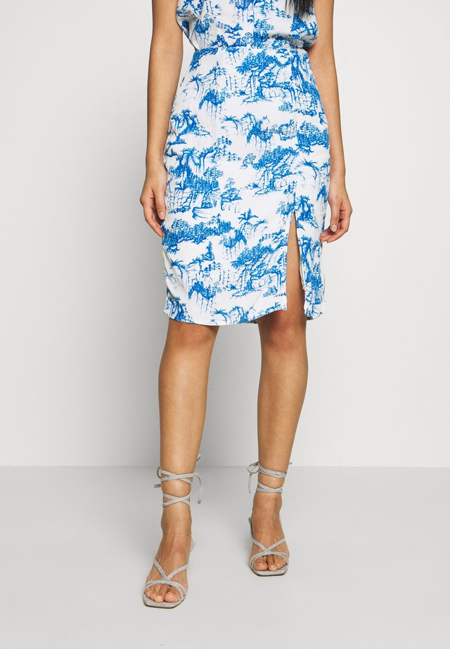 YASJOSEFINE PENCIL SKIRT - A-linjainen hame - eggnog/mazerine blue