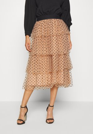 LAYER MIDI SKIRT - A-line skjørt - eggnog/cream/black