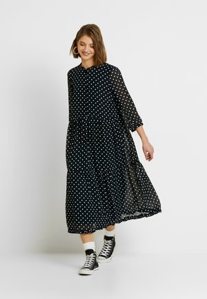 YASGREENISH DOT LONG DRESS - Skjortekjole - dark sapphire/white