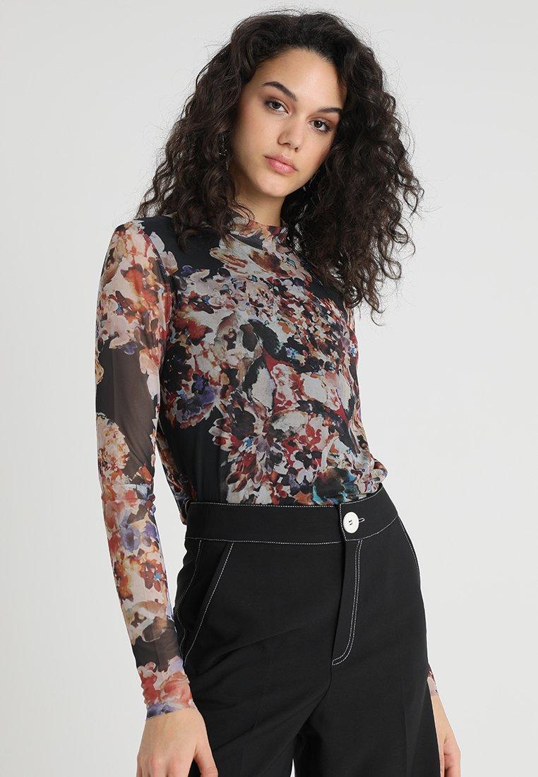 YAS - YASFLORAL - Langærmede T-shirts - black