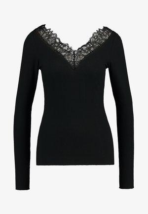 YASELLE V NECK - Camiseta de manga larga - black