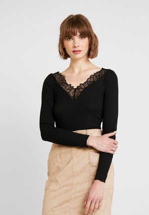 YASELLE V NECK - T-shirt à manches longues - black
