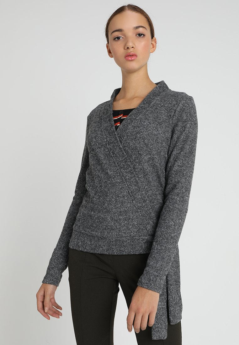 YAS - YASFLOSS WRAP - Cardigan - dark grey