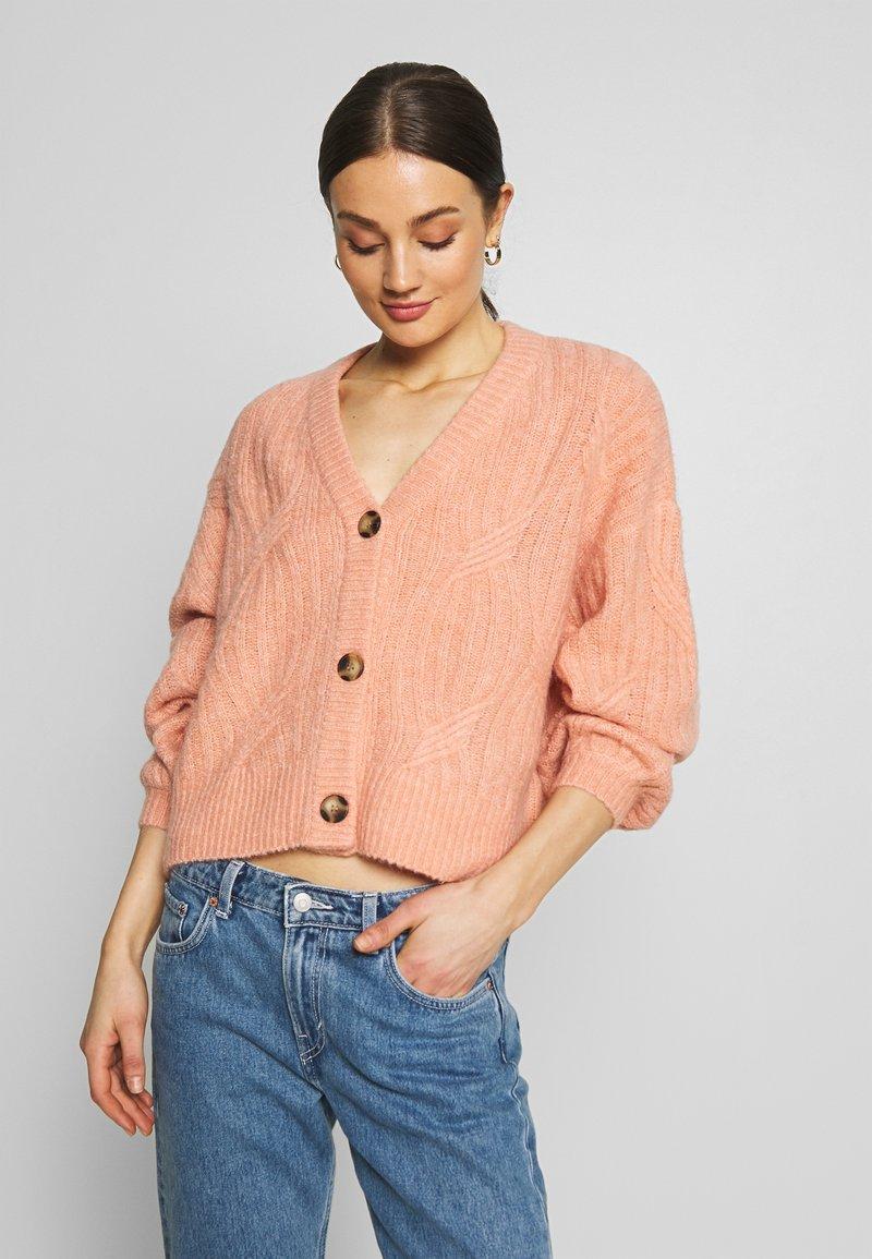 YAS - YASPIXIE KNIT CARDIGAN - Cardigan - coral pink