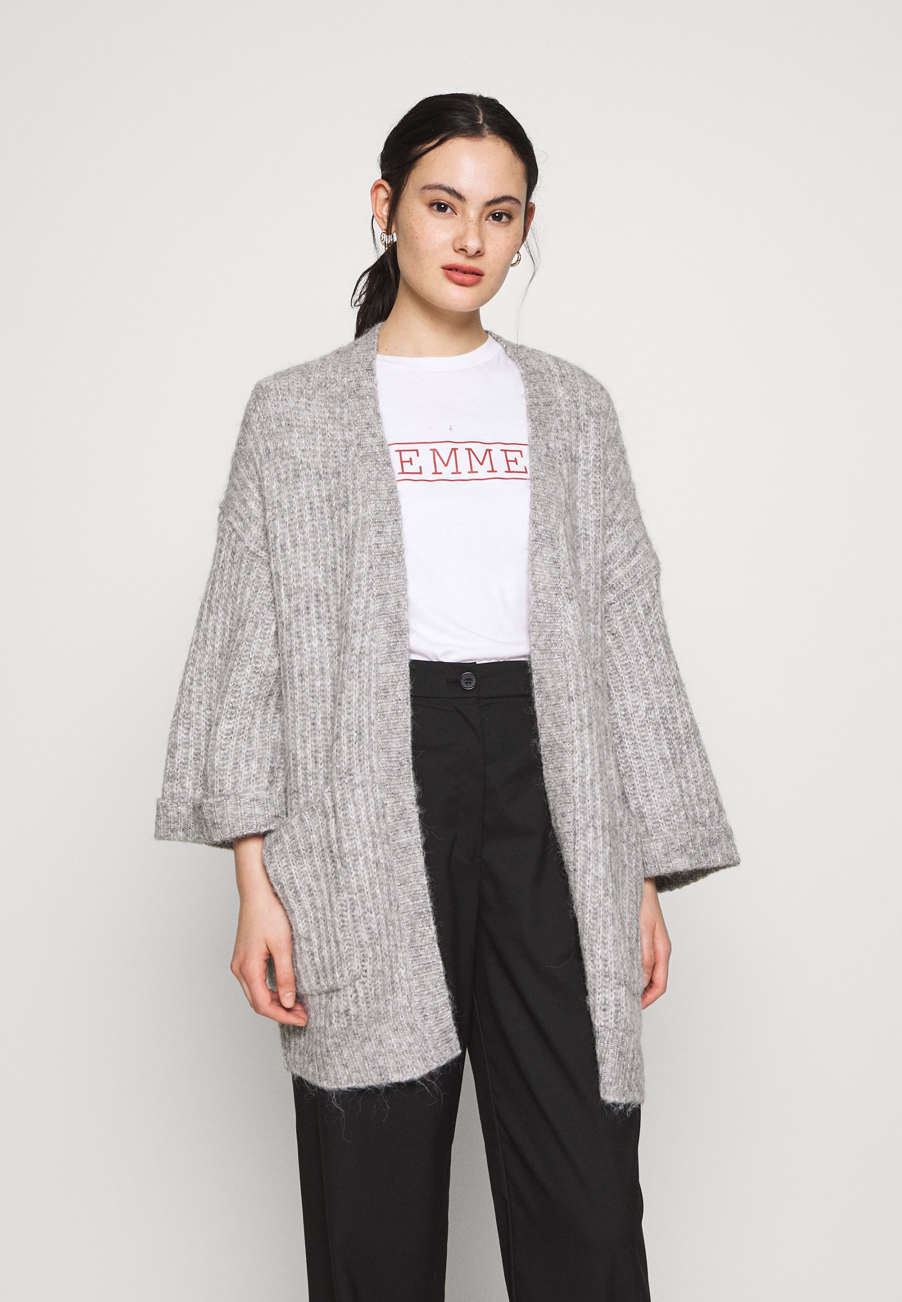 YAS YASSUNDAY CARDIGAN - Kardigan - light grey melange