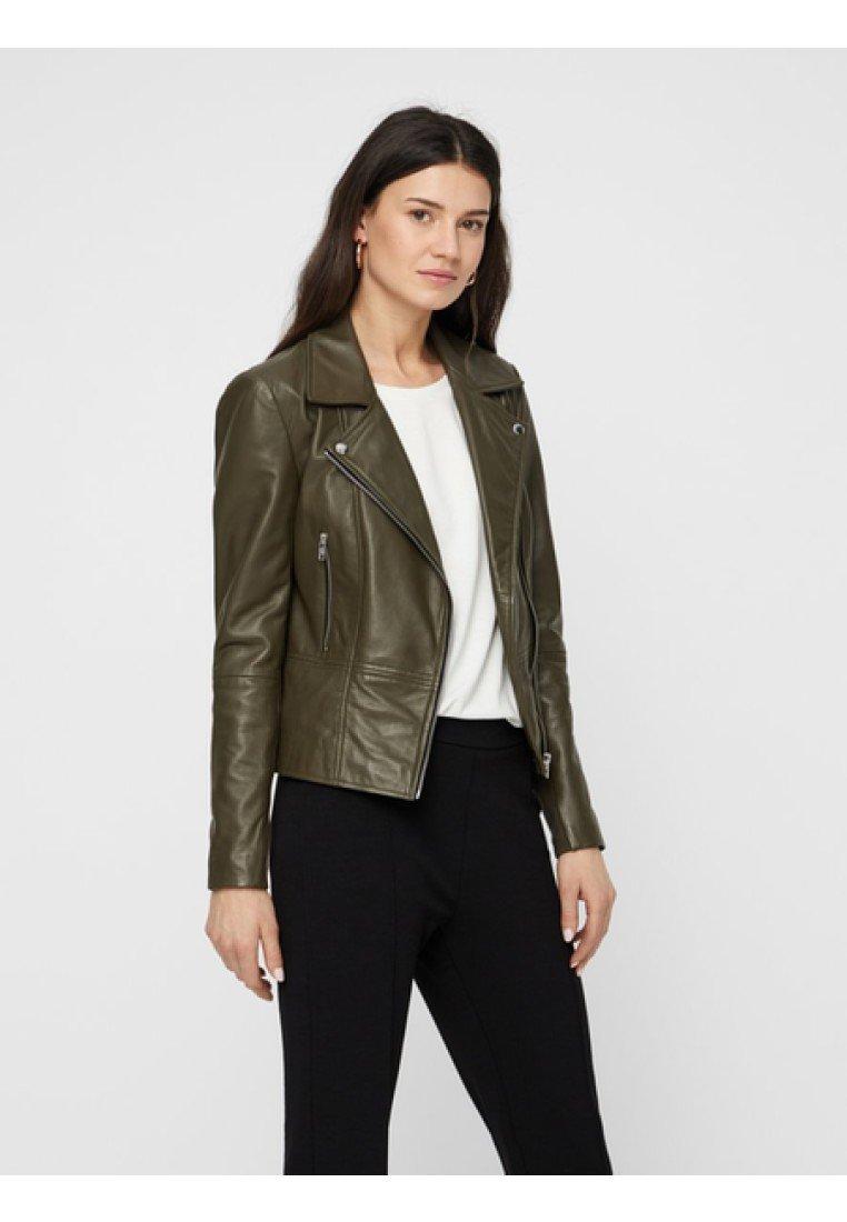 YAS - YASSOPHIE - Leather jacket - olive