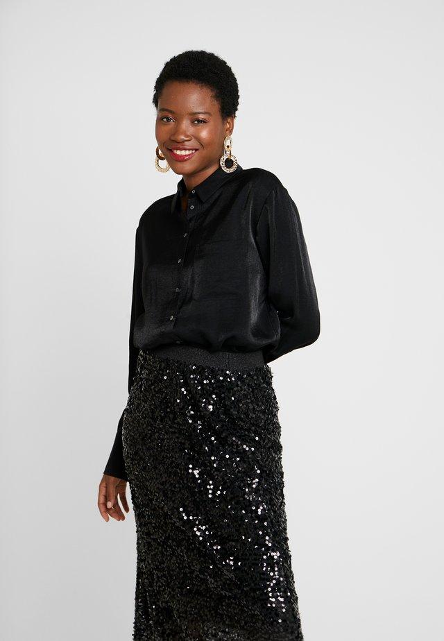 ZITA GLITTER - Button-down blouse - black