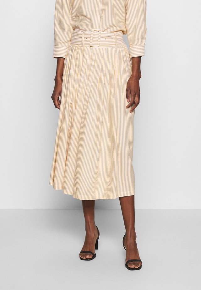 YASEMBER MIDI SKIRT - A-line skirt - golden rod/star white