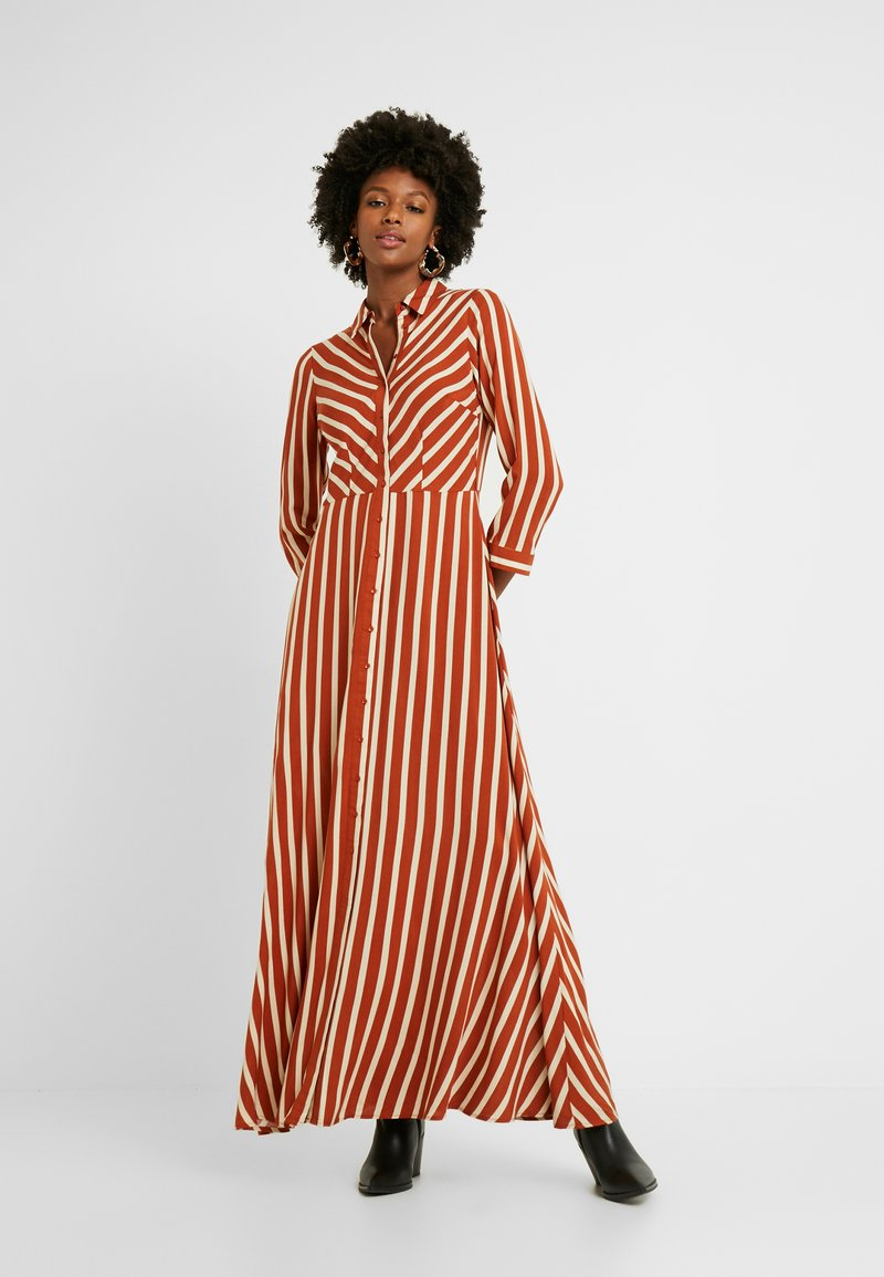 YAS Tall - YASSAVANNA LONG DRESS - Maxikjole - bombay brown/creme