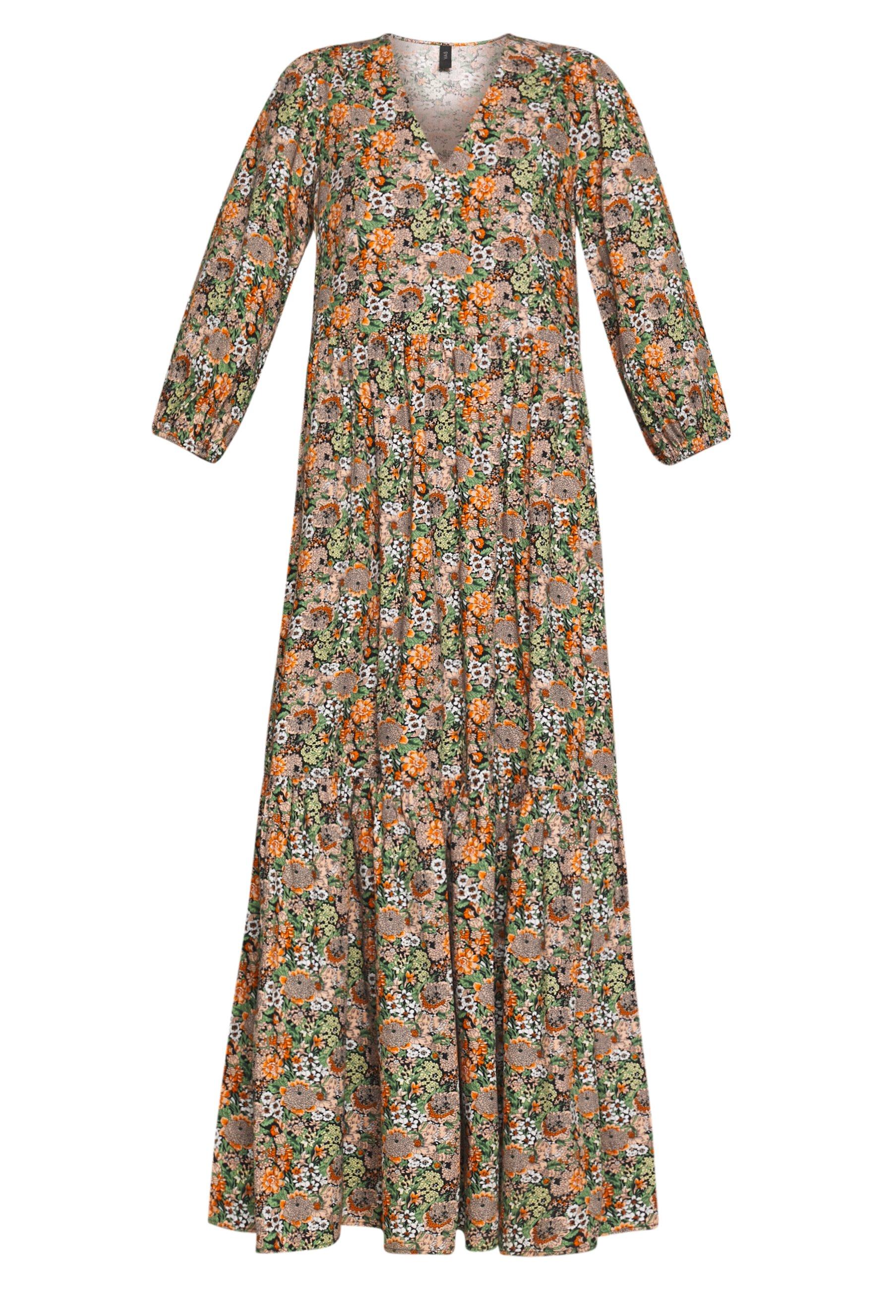 YAS Tall YASFLORALA 3/4 ANKLE DRESS - Sukienka letnia - coral pink