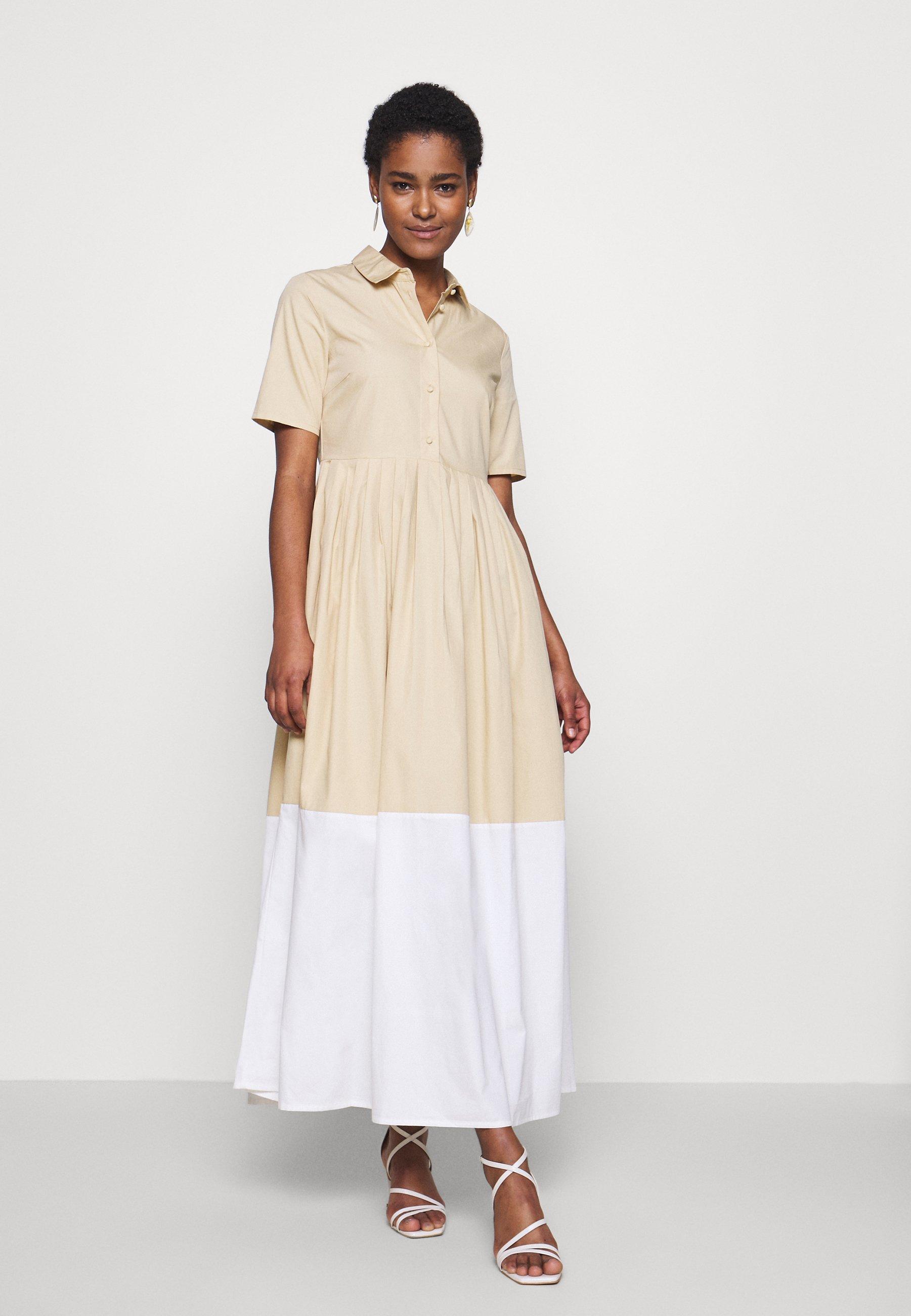 YAS Tall YASPEPPER ANKLE DRESS - Długa sukienka - pebble/star white