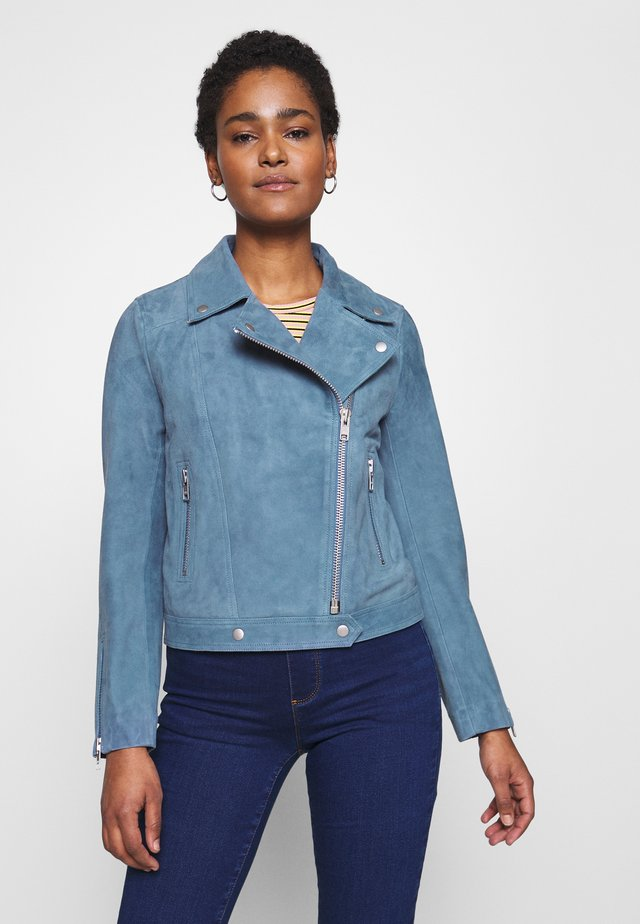 YASBLUA SUEDE  - Leather jacket - blue heaven