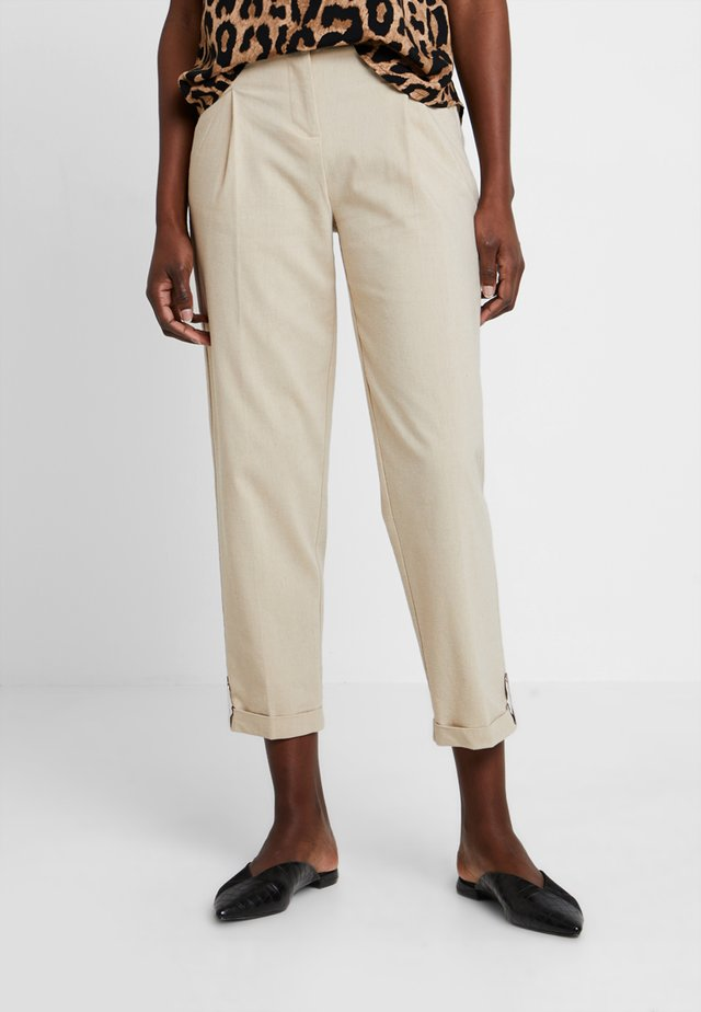 HEM DETAILED TROUSERS - Kangashousut - beige