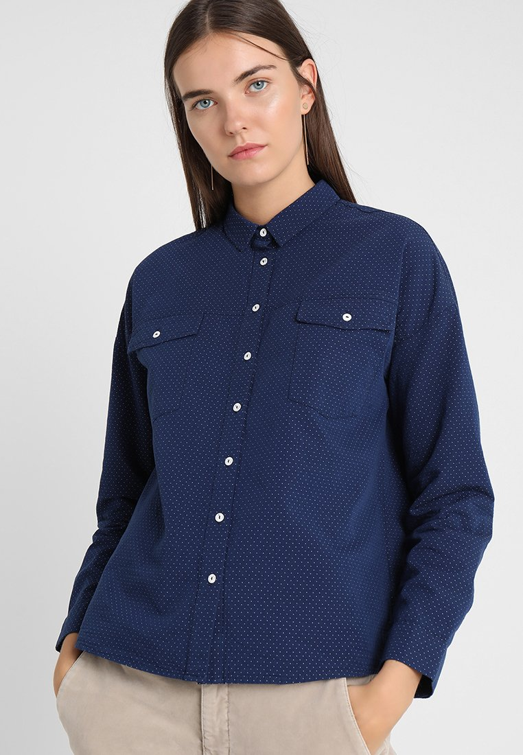 Yargici - COLLAR DETAILED - Button-down blouse - navy
