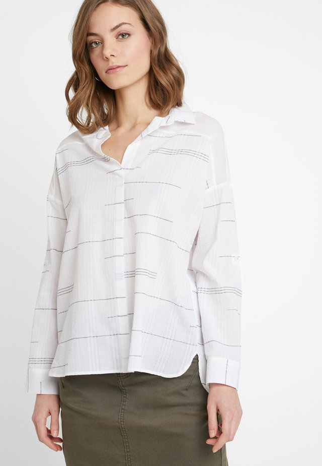 YOKE DETAILED - Blouse - white/grey