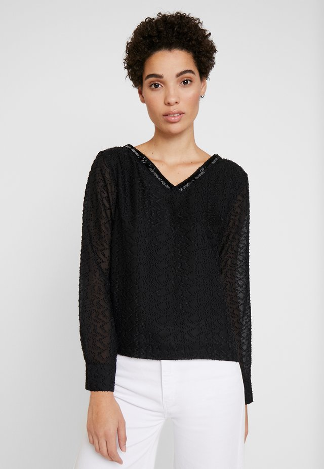 NECK DETAILED BLOUSE - Pusero - black