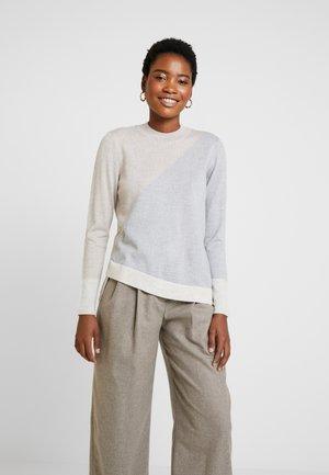 SLIT DETAILED - Sweter - beige melange