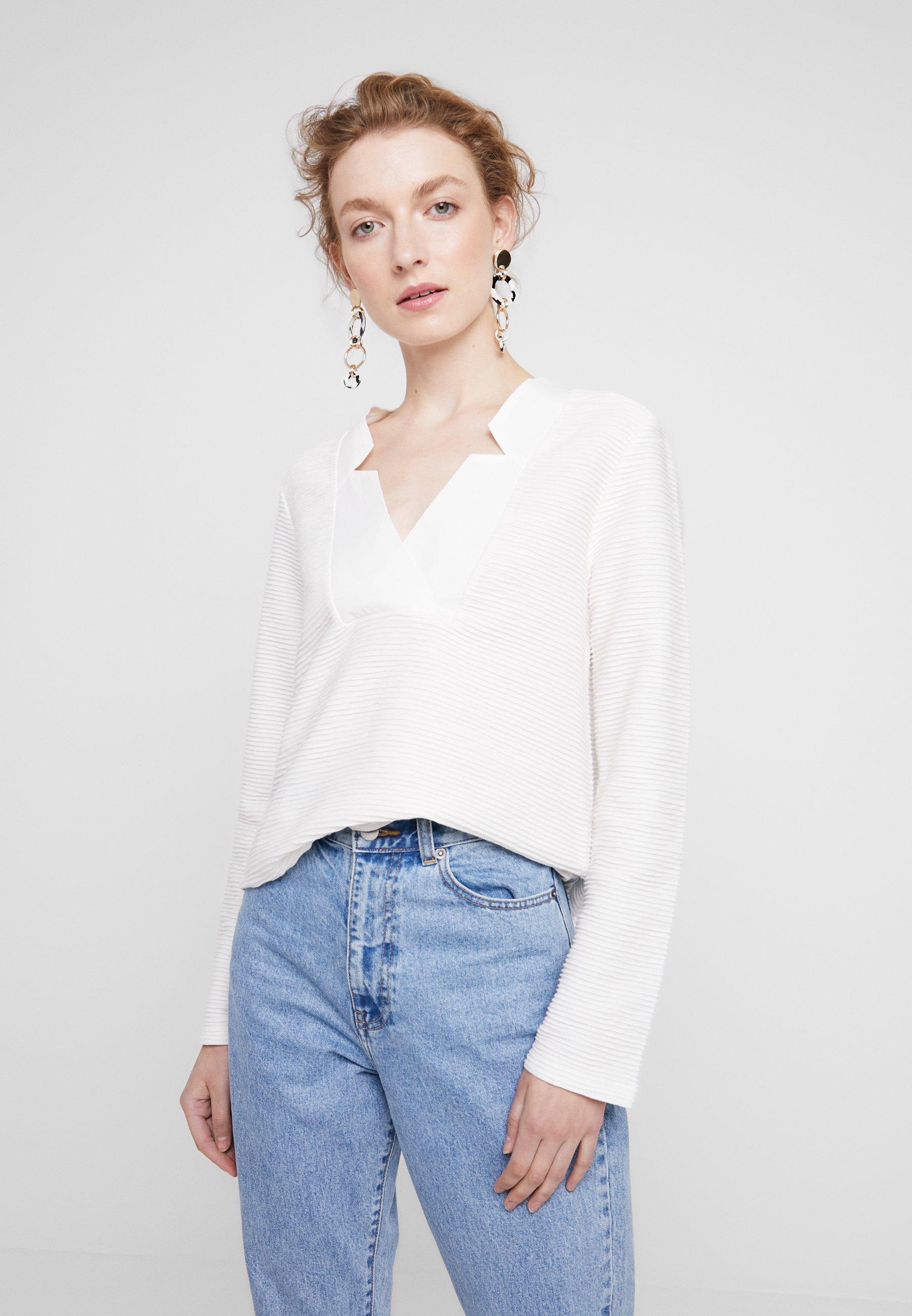 Neck À shirt SleeveT Off Yargici Long Manches Detailed White Longues jL5c3SR4Aq