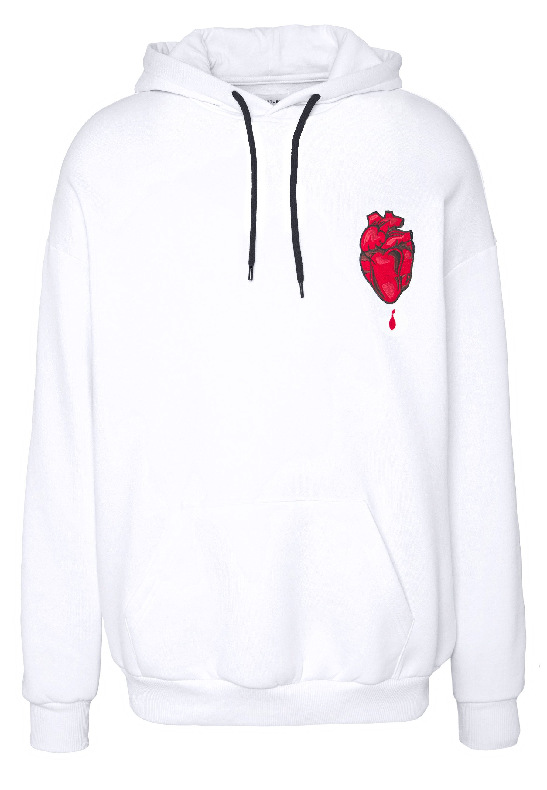 YOURTURN CHOPSTICK HEART - Bluza z kapturem - white