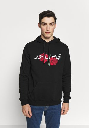ROSE AND ARABIC - Bluza z kapturem - black