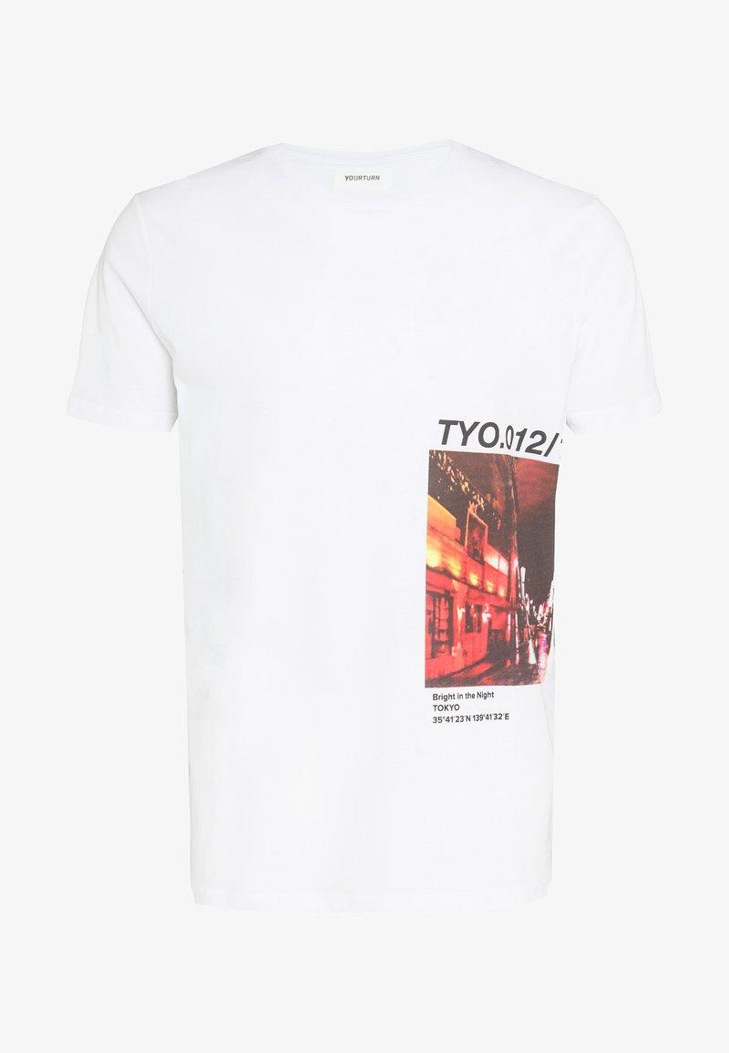 YOURTURN - UNISEX TOKYO TEE  - Print T-shirt - white