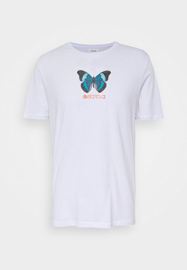 UNISEX BUTTERFLY TEE - T-shirts med print - white