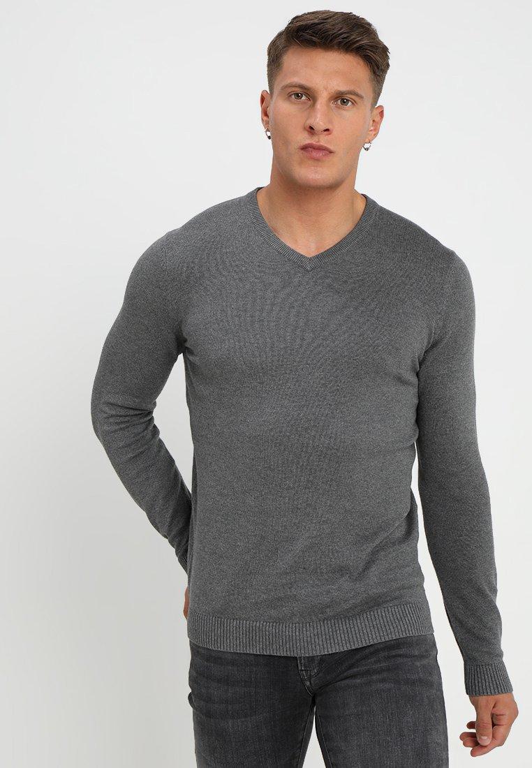 YOURTURN - Strikkegenser - mottled dark grey, mottled dark grey