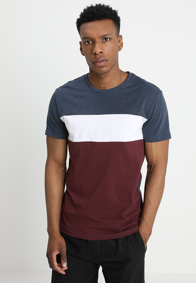 YOURTURN - T-shirt con stampa - mottled bordeaux/white